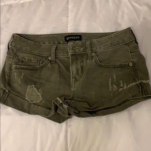 Express olive green distressed woman's shorts